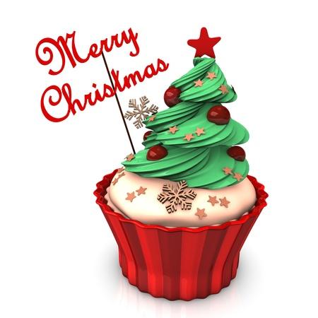 weihnachtskuchen: A christmas Cupcake mit grünen Baum und dem Text Frohe Weihnachten