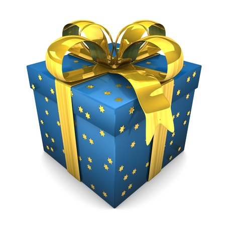 Blue gift with golden stars. White background.