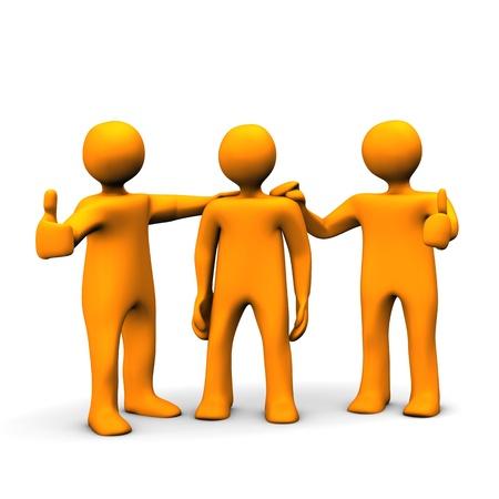 workmate: Orange cartoon characters praises his workmate. Stock Photo