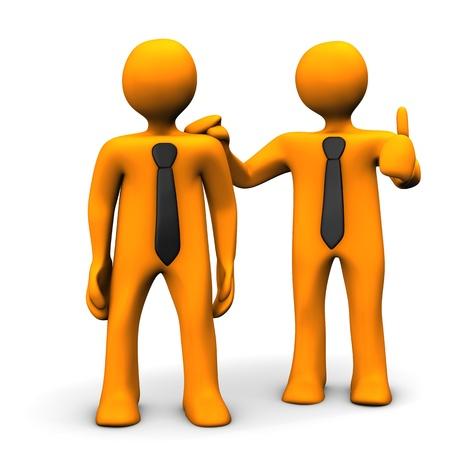 workmate: Orange cartoon character praises his workmate. Stock Photo