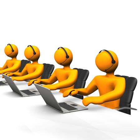 Personaje de dibujos animados Orange trabaja en un callcenter.