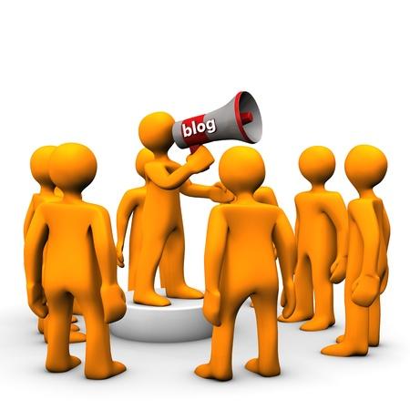 Orange cartoon character with megaphone, make a blog  photo