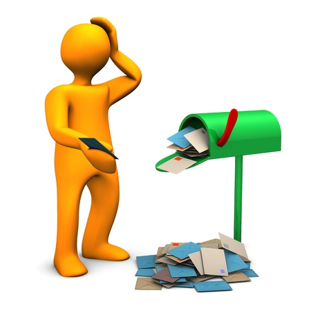 Orange cartoon character with overcrowded mailbox  photo