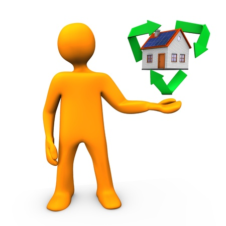 Orange cartoon character with symbol of recycling and house  photo