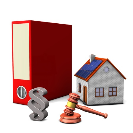 Red folder with smal house, hammer and paragraph on the white background Stock Photo - 16826310