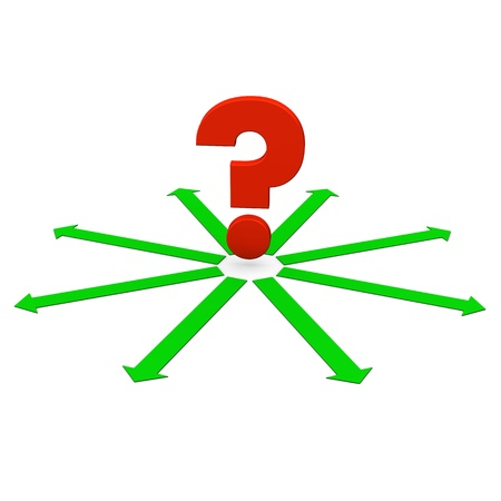 Red question mark with green arrows  White background  Stock Photo - 16826229