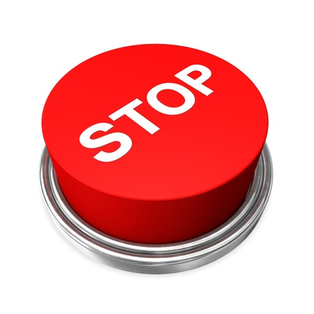 Red stop button on the white background  photo