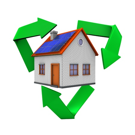renewables: Eco house with recycling symbol  White background