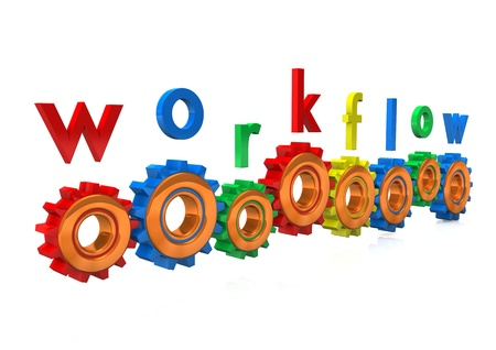 management process: Multicolored gears with the text  workflow   White background
