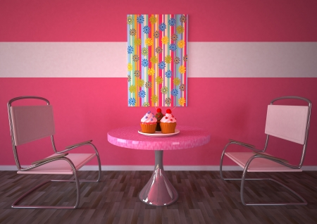 Bakery room with pink wall, two chairs, table and three cupcakes  photo