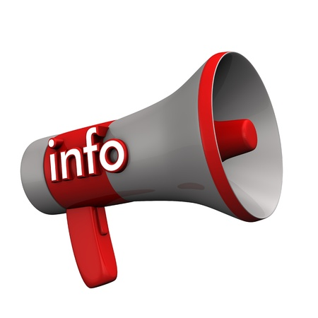 organise: Red megaphone with text info. White background. Stock Photo