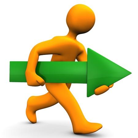 runs: Orange cartoon character runs with big green arrow. Stock Photo