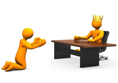 kneeling: Beggar kneeling ask for a job. Two orange cartoon characters.