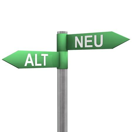 alt: Ein Wegweiser mit zwei Richtungen  Alt  und  Neu