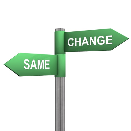 the same: Signpost with two directions with the text  same  and  change   Stock Photo
