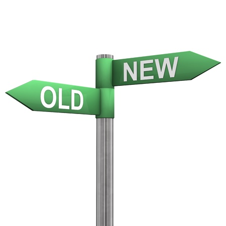 two roads: Signpost with two directions with the text  old  and  new