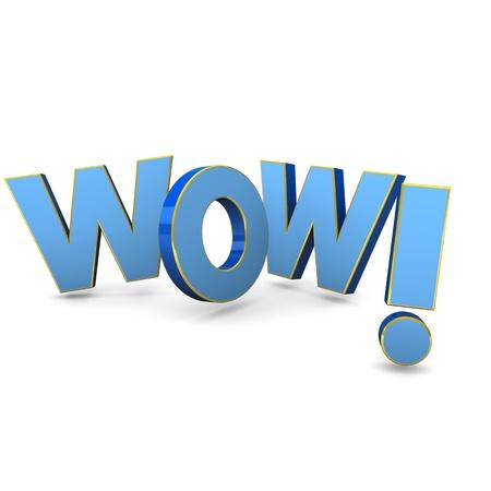 wow: Wow texto azul con cintas de oro Fondo blanco Foto de archivo