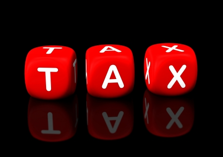 refund: Red cubes with the text &quot,tax&quot,. Black background. Stock Photo