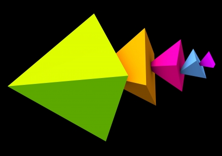 Abstract colorful pyramids on the black background  Stock Photo - 17259411