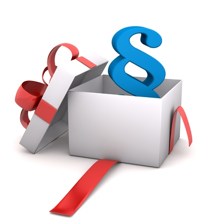 Opened gift with paragraph symbol  White background  Stock Photo