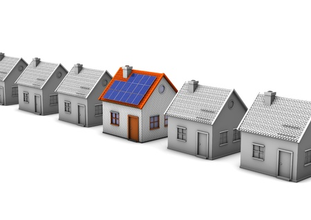 solar panel roof: Grey houses with one house with solar panels  White background  Stock Photo