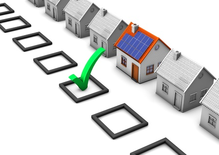 Checklist with green tick and houses on the white background  Stock Photo