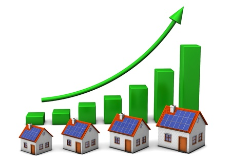 brokerage: Houses with green chart on the white background