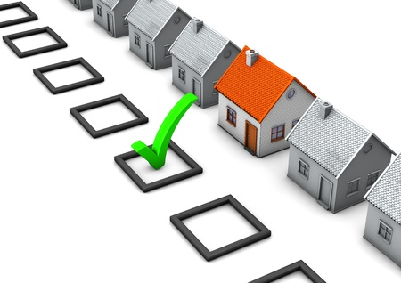 green tick: Checklist with green tick and houses on the white background  Stock Photo