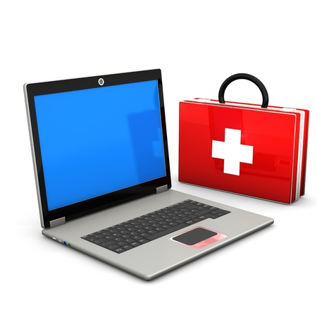 First aid case with laptop  on the white background Stock Photo - 17259453