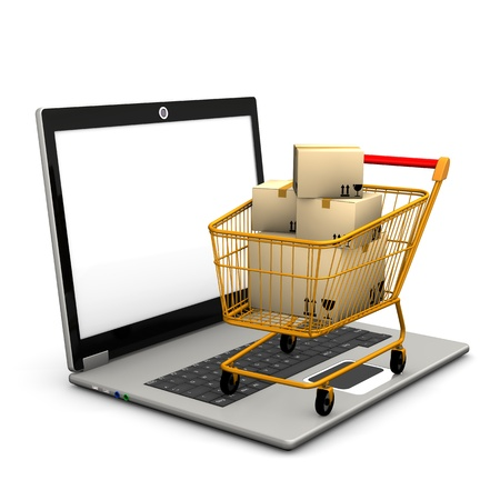 e commerce: Laptop with shopping cart and shipping cartons  Stock Photo