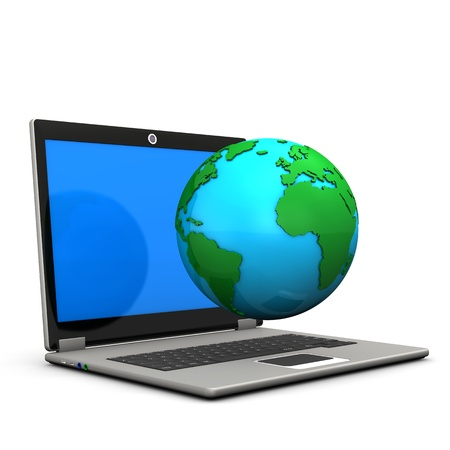 Laptop with globe on the white background  Stock Photo - 17259438