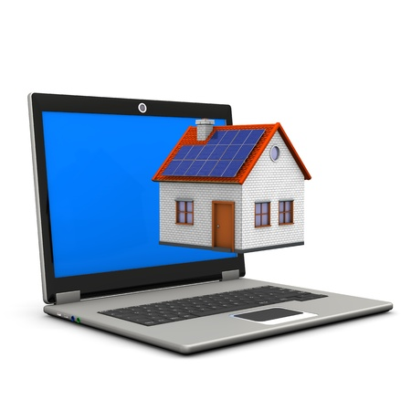 Laptop with house on the white background  Stock Photo - 17259457