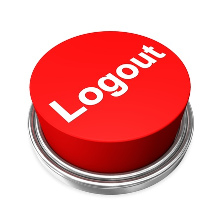 logout: Red logout button on the white background  Stock Photo