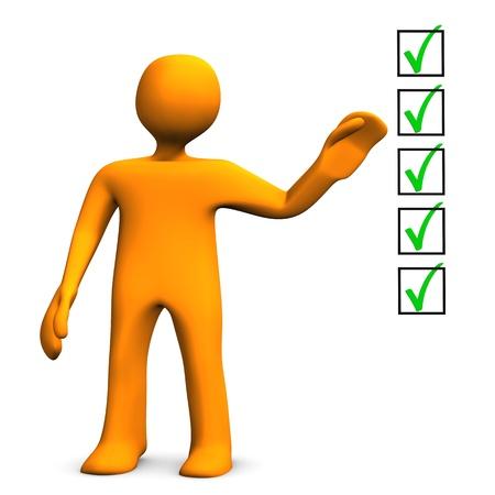 Orange cartoon Charakter mit Checkliste auf dem weißen Hintergrund.