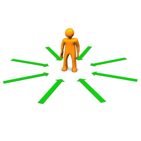Orange cartoon character with green arrows. White background. photo
