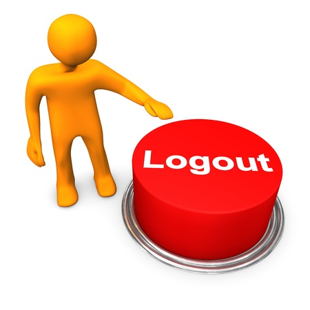 logout: Orange cartoon character with red button &quot,logout&quot,. Stock Photo