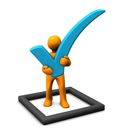 Oranje cartoon karakter met checklist op de witte achtergrond. Stockfoto