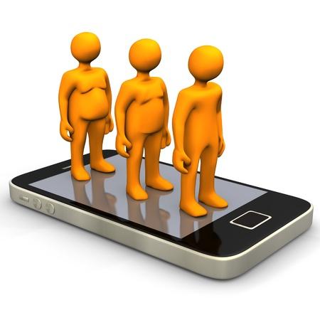 regimen: Orange cartoon characters on the big smartphone. Stock Photo