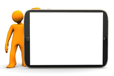 tabletpc: Orange cartoon character with big tablett-pc on the white background.