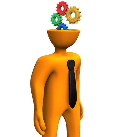 Orange cartoon character with black tie and gears in the head  photo