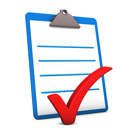 checklist: Illustration of clipboard and red tick on the white background  Stock Photo