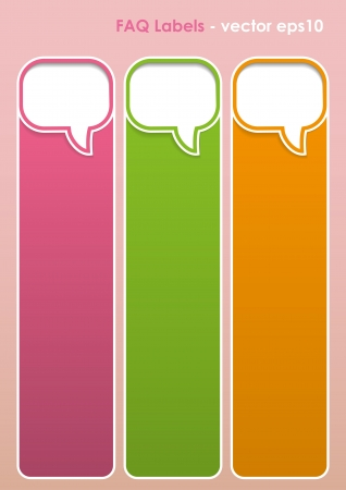 fag: Multicolored FAQ Labels with shapes