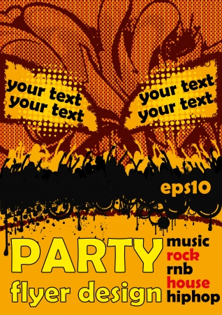 rnb: Flyer party design with orange colors and party people  Illustration