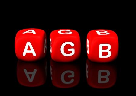 rote: Rote Würfel mit dem Text AGB. Schwarzer Hintergrund. Stock Photo