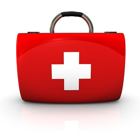 Red emergency case with white cross on the white background. photo