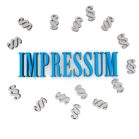 paragraphs: Blue text IMPRESSUM with paragraphs. White background. Stock Photo