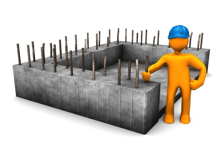 building contractor cartoon: Civil engineer with the foundation of house. Stock Photo