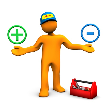ampere: Orange cartoon character as electrician phones with plus and minus symbols. White background.