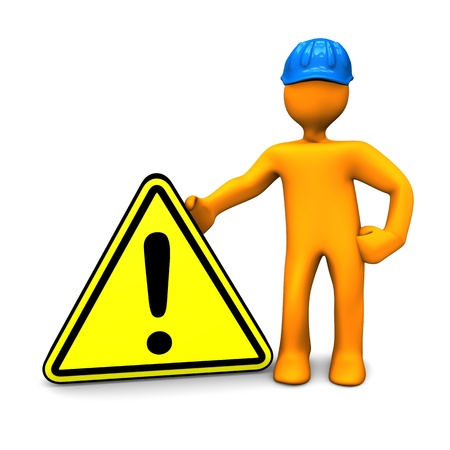 Orange cartoon character with blue helmet and warning triangle. Stock Photo