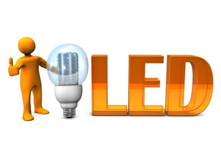Orange cartoon character with orange text LED and LED-Bulb. White background. photo